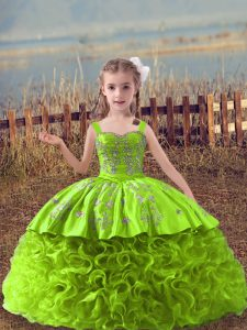 Yellow Green Fabric With Rolling Flowers Lace Up Evening Gowns Sleeveless Sweep Train Embroidery