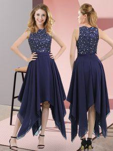 Navy Blue High-neck Zipper Beading and Sequins Custom Made Pageant Dress Sleeveless