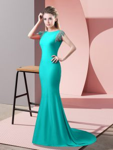 Edgy Backless Pageant Dress for Womens Turquoise for Prom and Party with Beading Brush Train