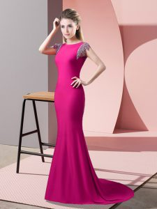 Elegant Short Sleeves Elastic Woven Satin Brush Train Backless Pageant Dress Wholesale in Hot Pink with Beading