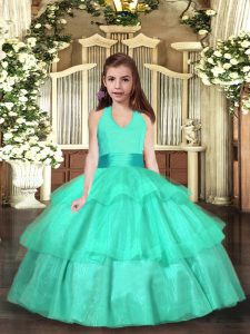 Dramatic Sleeveless Floor Length Ruffled Layers Lace Up Pageant Dress for Girls with Turquoise