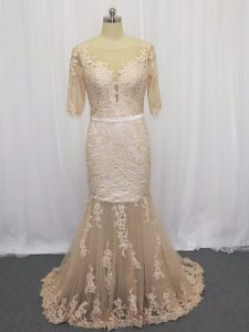 Half Sleeves Brush Train Lace and Appliques Backless Pageant Gowns