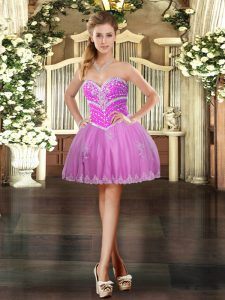 Lilac Tulle Lace Up Pageant Dress Wholesale Sleeveless Mini Length Beading and Appliques