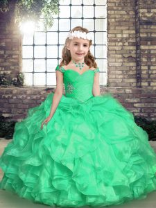 Fancy Sleeveless Floor Length Embroidery and Ruffles and Ruching Lace Up Pageant Dress for Womens with Turquoise