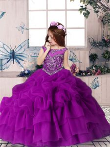 Adorable Ball Gowns Pageant Dress for Girls Purple Scoop Organza Sleeveless Floor Length Zipper