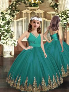 Turquoise Sleeveless Floor Length Embroidery Zipper Custom Made Pageant Dress