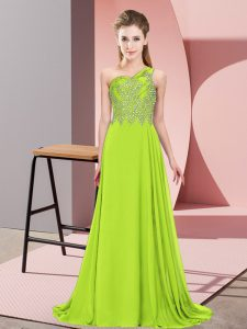 High End Floor Length Yellow Green Evening Gowns One Shoulder Sleeveless Side Zipper