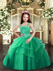 Super Ball Gowns Pageant Dress for Girls Turquoise Straps Tulle Sleeveless Floor Length Lace Up