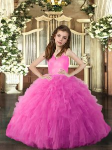 Luxurious Floor Length Ball Gowns Sleeveless Hot Pink Girls Pageant Dresses Lace Up