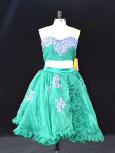 Fantastic Two Pieces Pageant Dress for Teens Turquoise Sweetheart Organza Sleeveless Mini Length Zipper