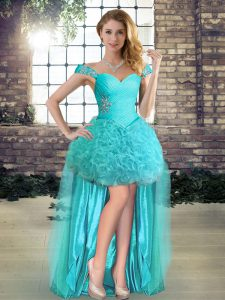 Attractive Aqua Blue Lace Up Off The Shoulder Beading Evening Gowns Fabric With Rolling Flowers Sleeveless