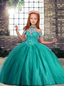 Sleeveless Floor Length Beading Lace Up Kids Pageant Dress with Turquoise
