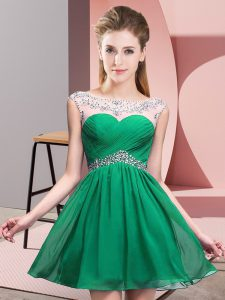 Hot Selling Turquoise Sleeveless Chiffon Backless High School Pageant Dress for Prom and Party and Military Ball