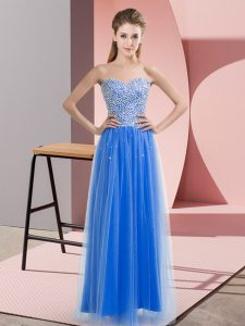 Eye-catching Tulle Sweetheart Sleeveless Lace Up Beading Pageant Dress for Girls in Blue