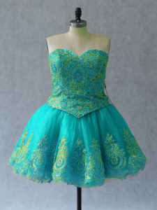 Excellent Turquoise Pageant Dress Womens Prom and Party with Appliques and Embroidery Sweetheart Sleeveless Lace Up