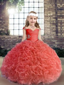 Red Straps Lace Up Beading and Ruching Child Pageant Dress Sleeveless