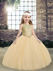 Floor Length Peach Pageant Gowns For Girls Scoop Sleeveless Lace Up