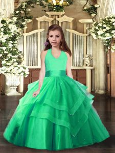 Halter Top Sleeveless Winning Pageant Gowns Floor Length Ruching Turquoise Tulle