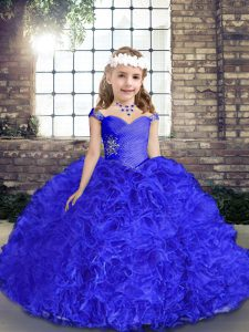 Royal Blue Lace Up Straps Beading Little Girls Pageant Dress Wholesale Fabric With Rolling Flowers Sleeveless