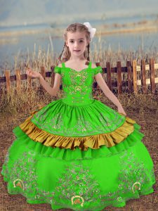 Great Off The Shoulder Sleeveless Kids Formal Wear Floor Length Beading and Embroidery Satin