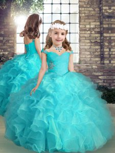 High Quality Aqua Blue Sleeveless Beading and Ruffles High Low Little Girls Pageant Dress Wholesale