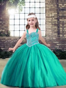 Admirable Ball Gowns Evening Gowns Turquoise Straps Tulle Sleeveless Floor Length Side Zipper