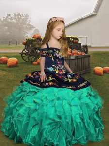 Turquoise Organza Lace Up Straps Sleeveless Floor Length Pageant Dress for Teens Embroidery