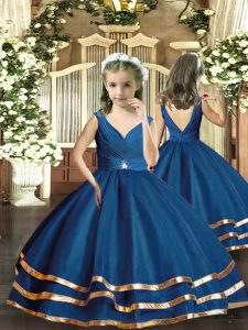 Navy Blue Organza Backless V-neck Sleeveless Floor Length Little Girls Pageant Gowns Beading