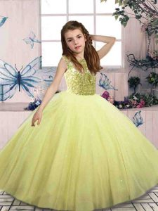 Sleeveless Lace Up Floor Length Beading Pageant Dress for Girls