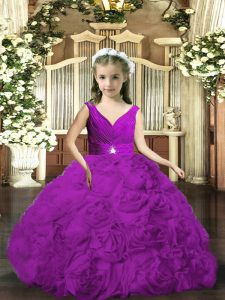 Custom Design Purple Fabric With Rolling Flowers Backless Pageant Dress Wholesale Sleeveless Floor Length Beading and Ruching