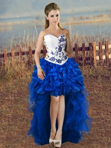Custom Design Blue And White Lace Up Sweetheart Embroidery Pageant Dress Toddler Organza Sleeveless