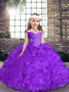Purple Sleeveless Fabric With Rolling Flowers Lace Up Pageant Dress for Teens for Party and Wedding Party