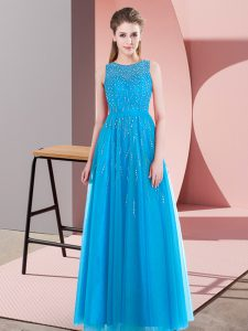 Floor Length Aqua Blue Pageant Dress Scoop Sleeveless Side Zipper