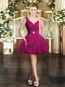 Fuchsia Fabric With Rolling Flowers Backless Evening Gowns Sleeveless Mini Length Beading