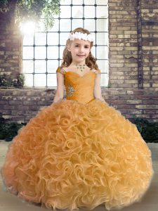 Gold Sleeveless Fabric With Rolling Flowers Lace Up Little Girls Pageant Dress for Party and Wedding Party