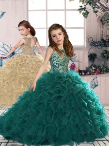Turquoise Scoop Lace Up Beading and Ruffles Winning Pageant Gowns Sleeveless