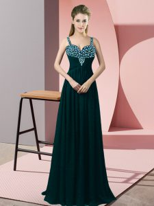 Peacock Green High School Pageant Dress Prom and Party with Beading Straps Sleeveless Zipper
