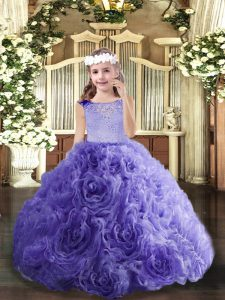 Hot Selling Lavender Scoop Neckline Beading Little Girls Pageant Gowns Sleeveless Lace Up