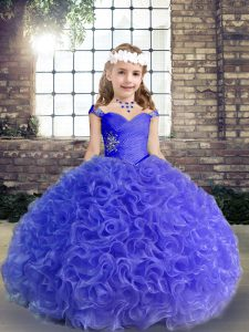 Ball Gowns Little Girls Pageant Dress Wholesale Purple Straps Fabric With Rolling Flowers Sleeveless Floor Length Lace Up