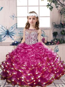 Fuchsia Lace Up Scoop Beading and Ruffles Pageant Dress for Teens Organza Sleeveless