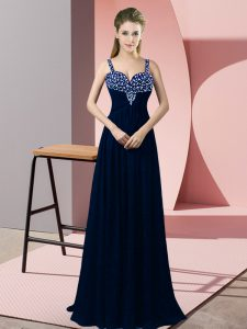 Navy Blue Sleeveless Beading Floor Length Evening Gowns