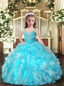 High Class Sleeveless Lace Up Floor Length Beading and Ruffles Pageant Dress Toddler