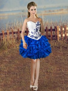 Fabulous Sweetheart Sleeveless Pageant Dress Toddler Mini Length Embroidery and Ruffles Blue And White Organza
