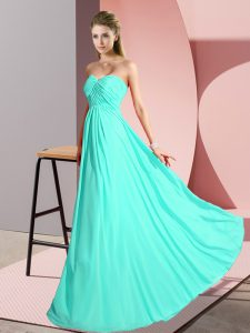 Sleeveless Lace Up Floor Length Ruching Pageant Dress for Womens