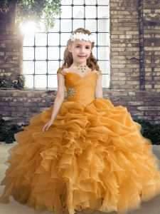 Dazzling Beading and Ruffles and Pick Ups Little Girls Pageant Dress Orange Lace Up Sleeveless Floor Length
