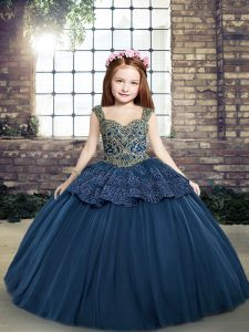 Exquisite Navy Blue Pageant Gowns For Girls Party and Military Ball and Wedding Party with Beading and Appliques Straps Sleeveless Lace Up