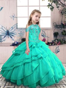 Floor Length Lace Up Little Girls Pageant Dress Wholesale Turquoise for Party and Wedding Party with Beading and Ruffled Layers