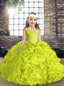 Yellow Green Sleeveless Floor Length Beading Lace Up Little Girls Pageant Dress Wholesale