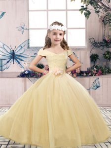 Champagne Sleeveless Floor Length Lace and Belt Lace Up Little Girls Pageant Gowns