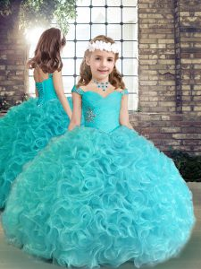 Aqua Blue Straps Neckline Beading and Ruching Little Girls Pageant Dress Sleeveless Lace Up